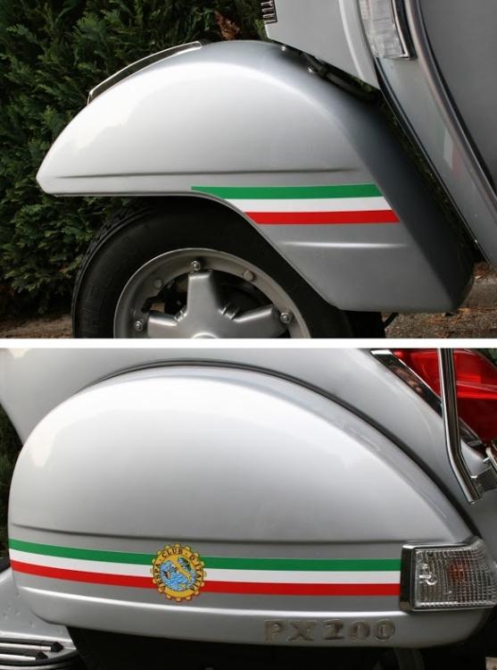 Aufkleber Set Italian Stripes Vespa Club D Italia Seitenbacken Kotflügel